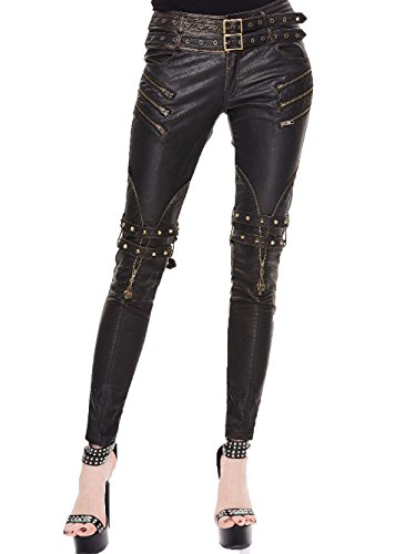 Gothic Mujer Black PU Cuero Sexy Fashion Lápiz Pantalones Steampunk Mujeres Retro Largo Slim Leggings (M, Botones de Cobre)