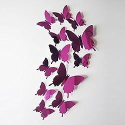 WOCACHI Wall Stickers Decals Wall Stickers Decal Butterflies 3D Mirror Wall Art Home Decors Hot Pink Art Mural Wallpaper Peel & Stick Removable Room Decoration Nursery Decor