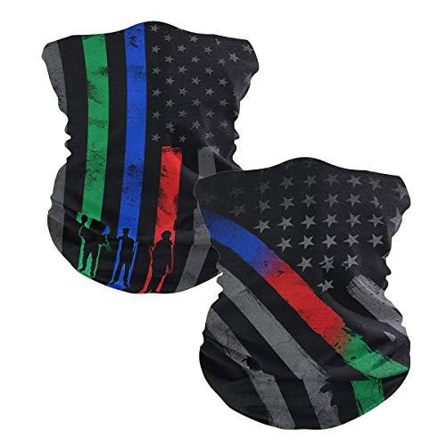 Ningboo 2Pcs USA Thin Blue Red Green Line Flag Face Scarf Magic Tube Bandanas Headwear Neck Gaiter Balaclava