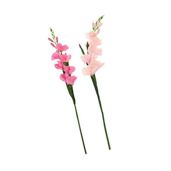 Fenteer 2pcs 80cm Artificial Gladiola Gladiolo Tallo De Flores para La Decoración del Jardín del Hogar