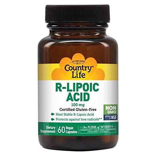 Country Life R-Lipoic Acid 100 mg, 60 Vegan Capsules, Antioxidant, Gluten-Free