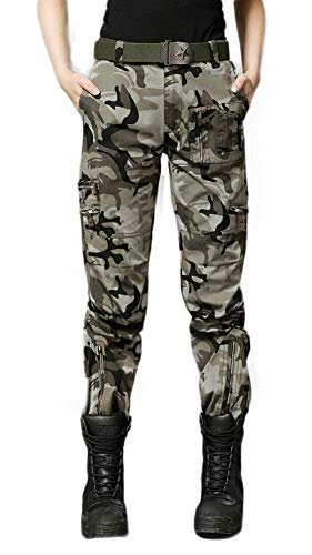 DMDMJY Womens Loose Fit Military Cargo Pants Lässige Tactical Durable Im Freien Kampfhose,c,36