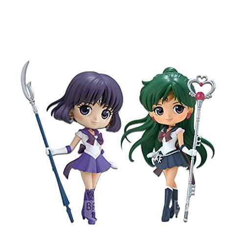 2 Piezas Sailor Moon Sailor Saturno Meiou Setsuna Figura De Acción De Anime Juguetes De Modelos Coleccionables Regalos 15Cm
