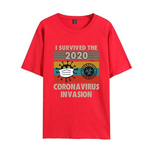 W&TT I Survived The 2020 Coro-Virus Invasion T-Shirt Novedad Cuello Redondo Camiseta de Manga Corta para Hombres y Mujeres Conmemoración y bendición,Red 2,XXL