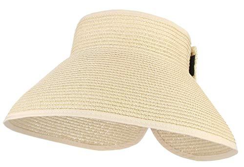 Paja Plegable Sombrero De Las Señoras Sombrero De Clásico Verano con Ancho...