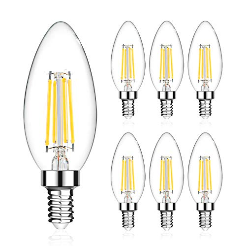 LED Candelabra Bulb 60W Equivalent, LANGREE E12 Base LED Candle Bulbs, Candelabra Light Bulbs for Ceiling Fan and Chandelier, Non-Dimmable, 5000K Daylight White, 550LM - Pack of 6