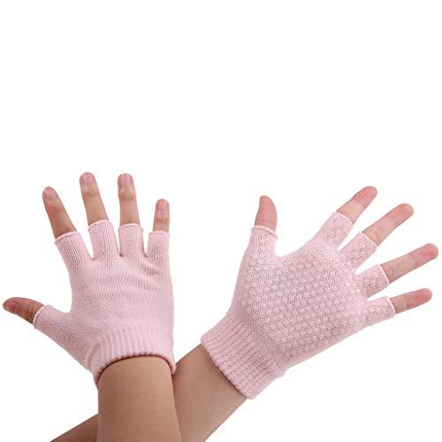 COZOCO Unisex Frauen Männer Yoga Fitness Handschuhe Training Sport Mitten rutschfeste Fahrradhandschuhe Halbfinger Handschuhe(rosa)