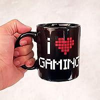 Taza mug I Love Gaming, 33 cl. Taza para desayunos de cerámica negra. Taza para Gamers