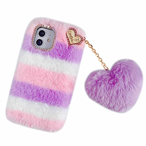 Nadoli für Samsung Galaxy A32 5G Plüsch Pelz Hülle,Niedliche Hitzig Handgefertigt Super Weich Flauschige Pelz Stoßfeste Silikon Handyhülle Schutzhülle mit Liebe Herz Form Anhänger