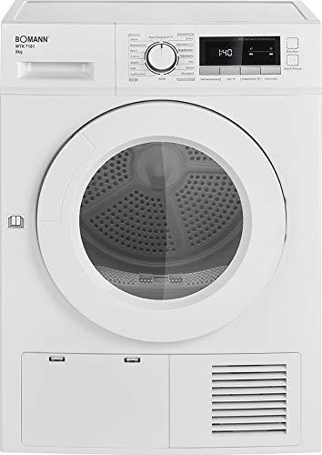 Bomann WTK 7181 Kondens-Wäschetrockner / 8 kg Fassungsvermögen / LED- Display / Kontrollanzeigen /13 Trocken- & 3 Zeit- Programme + Zusatzoption: Knitterschutz / Weiß