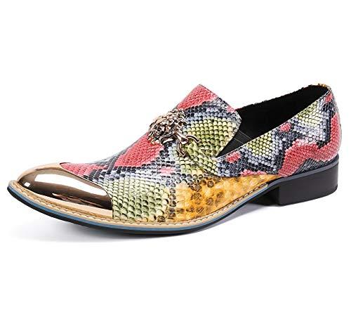 Zapatos de cuero de los hombres de color de imitación de piel de serpiente del dedo del pie modelo del metal...