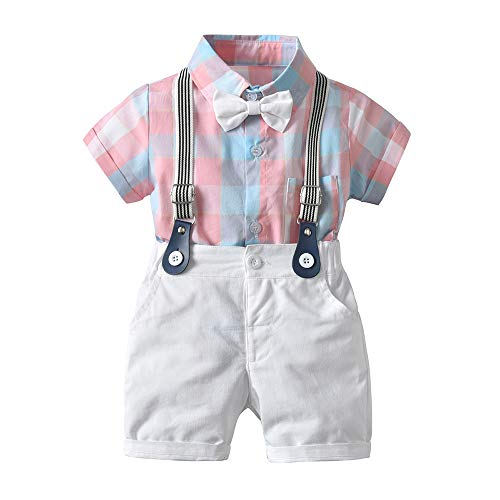 Price comparison product image Baby Boys Gentleman Outfits Suits,  Infant Short Sleeve Shirt+Bib Pants+Bow Tie Overalls Clothes Set Pink