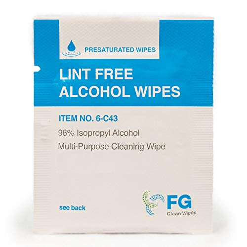 """FG Clean Wipes 4""""x3"""" Lint Free Alcohol Wipes - 96% IPA Box of 60 Individually Wrapped Sachets (6-C43)"""