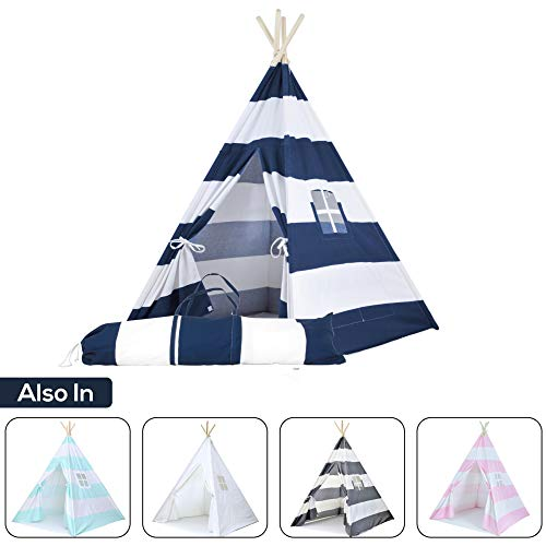 Kids Teepee Tent for Kids, No Toxic Chemicals Added, w/ Carrying Case, Navy Children's Teepee Tent...