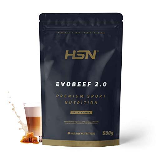 Proteína Hidrolizada de Carne de HSN Evobeef 2.0 | Hydro Beef Protein | Con Leucina Extra | 100% Proteína de Carne de Ternera | Sin Lactosa, Sin Gluten | Sabor Café y Caramelo, 500g