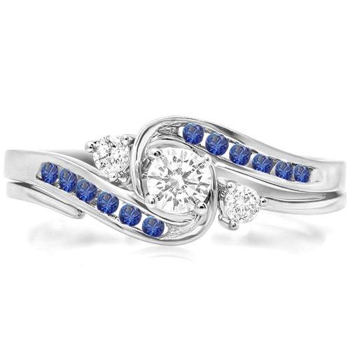 DazzlingRock Collection Anillo de Compromiso Nupcial Redondo de Oro 18k con Diamantes y zafiros Azules para Mujer Conjunto de Banda a Juego 7