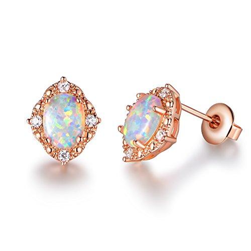 GEMSME Created white Opal 6x8mm oval Stud Earrings
