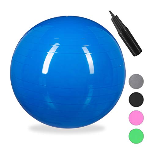 Relaxdays Unisex– Erwachsene Gymnastikball, Fitnessball Yoga & Pilates, Sitzball Büro, Balance Ball inklusive Luftpumpe, Ø 55 cm, blau, 1 Stück
