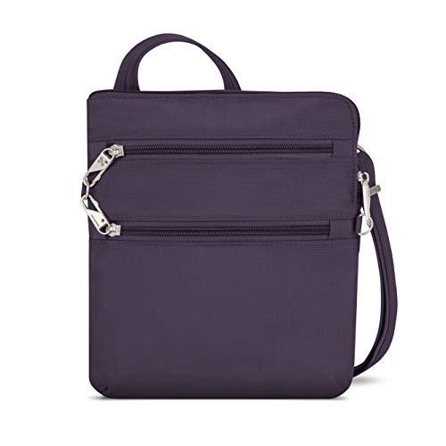 Travelon Anti-Theft Classic Slim Dbl Zip Crossbody Bag, Purple, 9 x 10.5 x 1