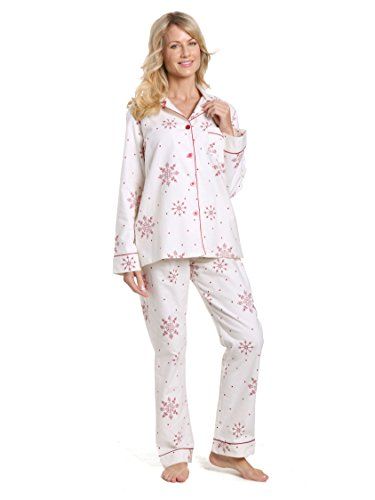 Twin Boat Women's Cotton Flannel Pajama Set - Lovely Snowflakes White-Red - XL