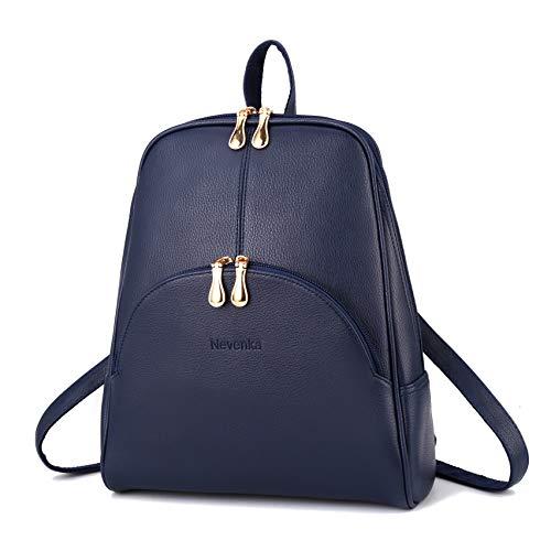 Nevenka Rucksack Damen Cityrucksack Daypack Tagesrucksack PU Leder Zweiwege Reißverschluss Elegantes Design (Blau)