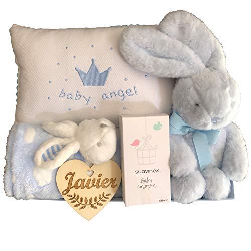 Canastilla bebé niño recién nacido con corazón personalizado, cojín baby ángel, conejito dulce, mantita con peluche y colonia Suavinex.