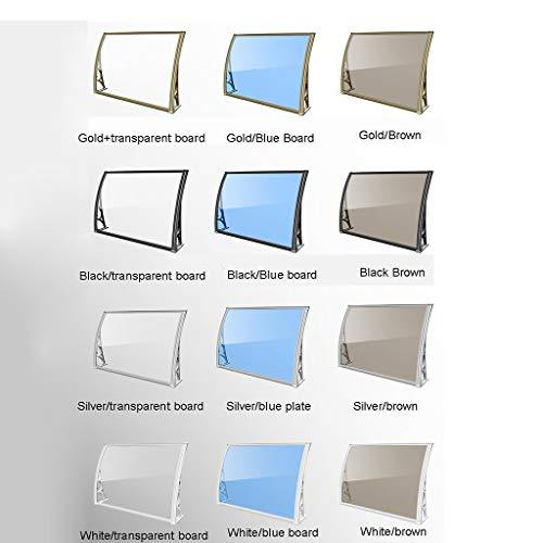 Markisen Aluminiumlegierung Flüsterleises Tür-Fenster-Markise Terrasse Schirmdach Abdeckung PC Polycarbonat-Blatt (Color : Gold/Blue Board, Size : 100 * 150cm)