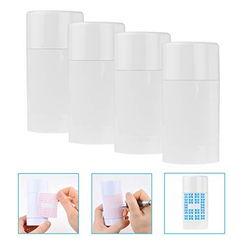 Kare & Kind Leere Deodorant-Behälter mit Kappe (4-Pack) - 75 ml. – Oben befüllbar mit Twist-Mechanismus - 10 beschreibbare Aufkleber - Nachfüllbare Kosmetiktuben für Lippenbalsam, Parfum, Seife usw.