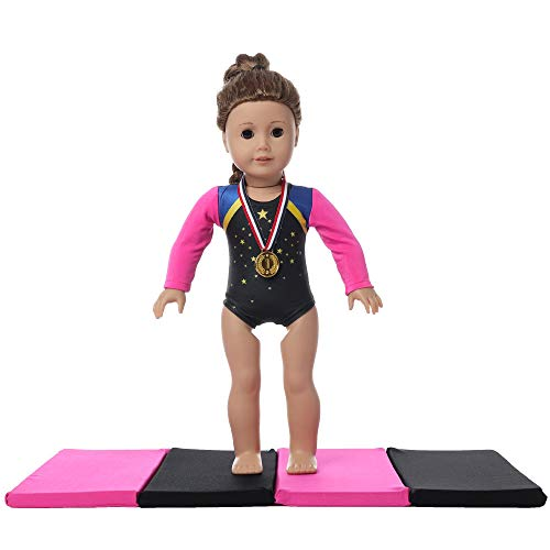 fundolls 18 inch Doll Clothes, Gymnastics Leotard with Gymnastics Mat and Olympic Gold Medal - Compatible with American Girl, Adora, Our Generation and Journey Girls Doll Clothes (Hot Pink&Black)