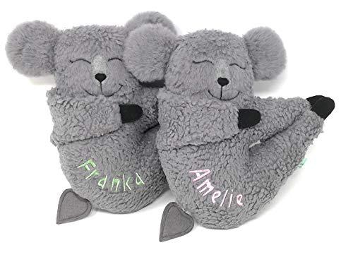 Baby Spieluhr zum Aufhängen: Koala Bär. 25 cm groß,Teddy Plüsch Baumwolle ÖKO, grau, personalisierbar mit Namen und Wunschmelodie, ein besonderes Geschenk zur Geburt, Taufe, Babyshower Geschenk