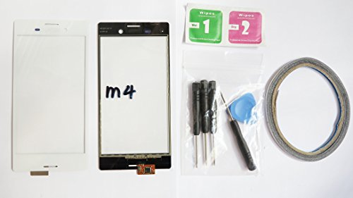 JRLinco Für Sony Xperia M4 Aqua E2302 Glas Bildschirm Display Touchscreen Ersatzteil ( Ohne LCD ) Für Sony Xperia M4 Aqua E2302 Weiß + Werkzeuge & doppelseitigen Kleber + Alkohol Reiniger Paket