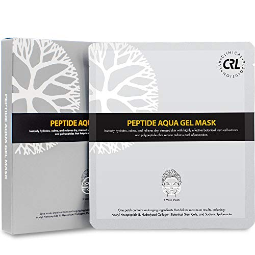 CRL Peptide Aqua Gel Mask 5 Pack, Instant Hydration, Soothing, Cooling, Healing, Post-Treatment, Post Microneedling, Reduce Redness and Stinging Feeling