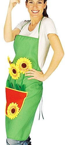 Gärtnerschürze Grillschürze grün mit Sonnenblumen