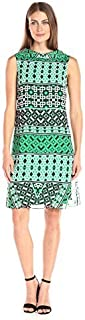 AGB Women's Contemporary Audrey Dress V-Back Collar, Shift with Bold Graphic Print