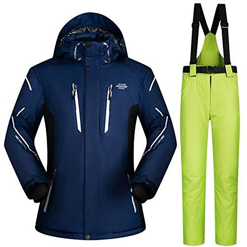Herren Skianzug Skijacke, Winddicht, wasserdicht, warm, atmungsaktiv, professionell bunt Bedruckt Ski Jacke Hosenanzug,Suit10,XXXL
