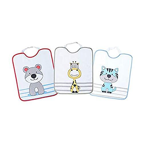 Ti TIN - Pack de 3 Baberos Impermeables para Niño con Cierre con Goma 100% Microfibra Poliéster   Para Bebés de Más de 1 Año, 31x37cm.