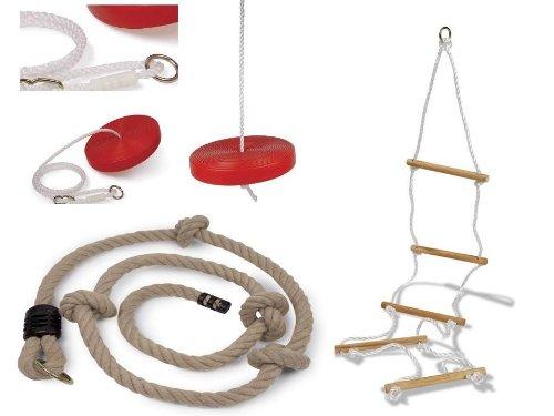 Equilibre et Aventure Lot Complet 1 balançoire Ronde + 1 échelle de Corde à 5 barreaux en Bois + 1 Corde à Noeuds pour Tout portique standart