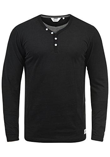 !Solid Doriano Camiseta Básica De Manga Larga Longsleeve para Hombre con Cuello Grandad, tamaño:XL, Color:Black (9000)