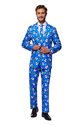 Suitmeister Christmas Suits for Men – Christmas Blue Snowman – Ugly Xmas Sweater Costumes Include Jacket Pants & Tie – XL