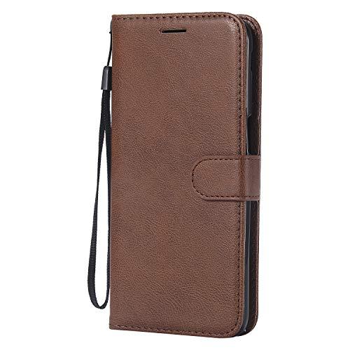 Hülle für Galaxy J6+ (J6Plus) Hülle Handyhülle [Standfunktion] [Kartenfach] Tasche Flip Case Cover Etui Schutzhülle lederhülle klapphülle für Samsung Galaxy J6 Plus/J610FN - DEKT050401 Braun