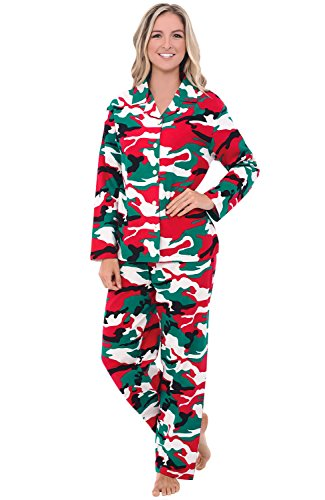 Alexander Del Rossa Women's Warm Flannel Pajama Set, Long Button Down Cotton Pjs, Small Christmas Camouflage (A0509N26SM)