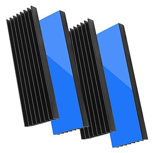 Akuoly 4 Stück Aluminium Kühlkörper PC Kühlrippen Kühler-Set Heatsink mit Thermoklebeband 70mmx22mmx6mm,Schwarz