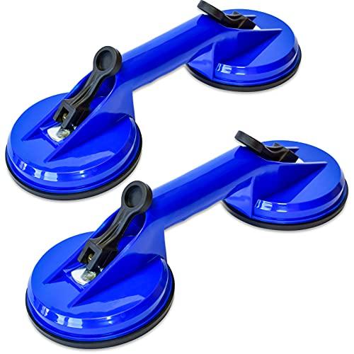 Werkzeugfee Doppel-Glassauger Saugheber Vakuum Gummisauger | Gummi-Saugnäpfe bis 60kg Tragkraft| Aus ABS-Kunststoff - mit Feststellhebel & Schnelllösefunktion | Saug-Griff für Transport (2Stk.)