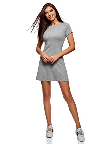 oodji Ultra Damen Kleid Basic mit Rundhalsausschnitt, Grau, DE 44 / EU 46 / XXL