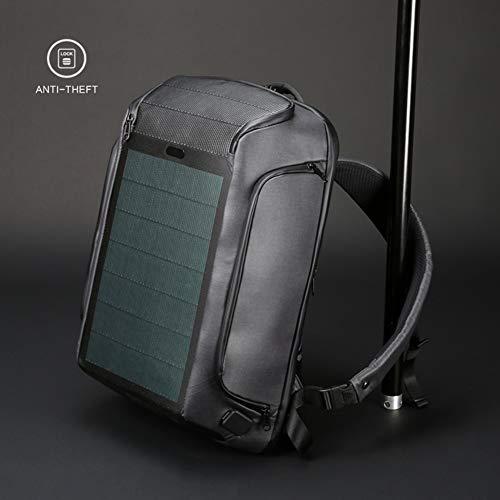 HMLIGHT Geschäft Sport Rucksack Männer Large Capacity Solar-USB-Lade Rucksack Freizeit-Kurze Reise Studententasche
