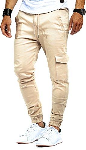 Leif Nelson Herren Jogger Chino Cargo Jeans Hose Freitzeithose LN8071; Größe XL; Beige