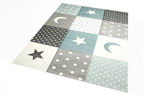 Tapis d'enfant Bébé crèche Bébé tapis Star et lune en bleu turquoise Crème grise Größe 80x150 cm