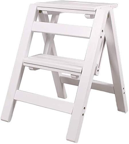 DQSM Multifuncional Escalera de Tijera Escalera Plegable - Taburete de Escalera pequeña Escalera de Madera 2 Piso Step Taburete Plegable - Taburete Plegable Ladder portátil Escalera de Pedal Ancha