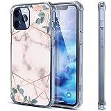 Coque de protection antichoc en caoutchouc souple pour iPhone 12 Pro - Motif marbre rose - 17 cm