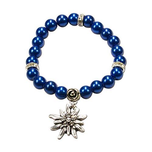 Alpenflüstern Perlen-Trachten-Armband Fiona mit Strass-Edelweiß - Damen-Trachtenschmuck, elastische Trachten-Armkette, Perlenarmband blau DAB011